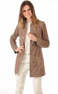 3/4 Cuir Velours Taupe Femme1
