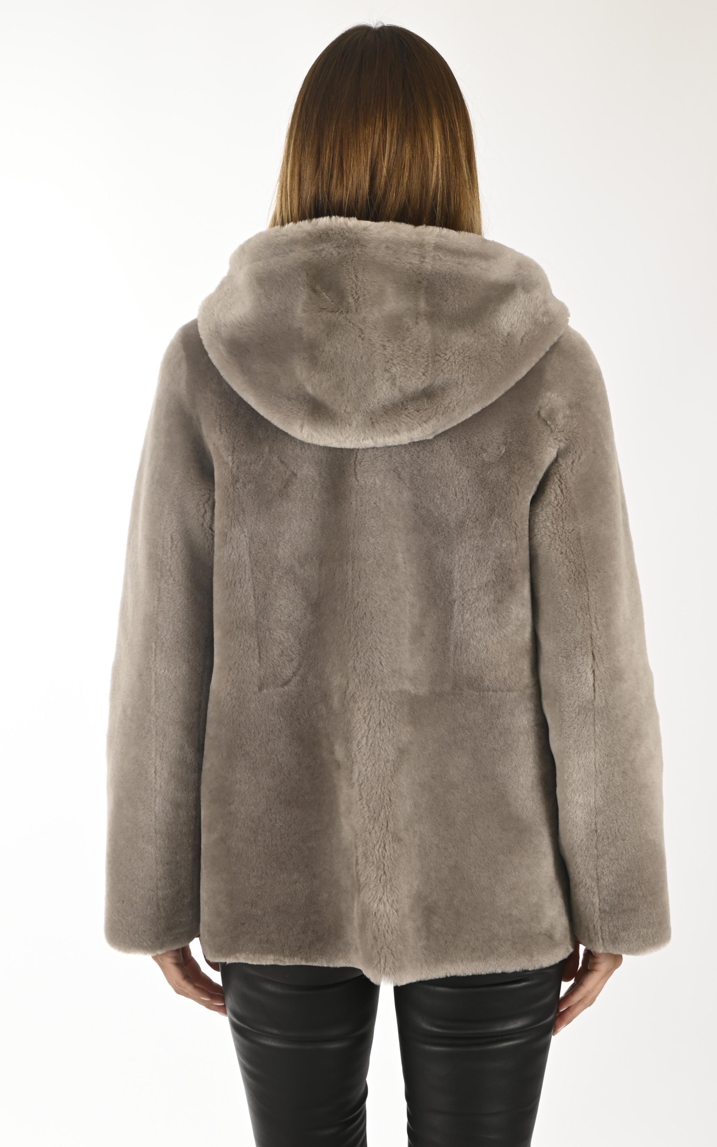 3/4 peau lainée taupe Giorgio