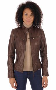 Veste cuir marron clair véritable femme nouvelle collection