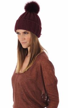 Bonnet laine et fourrure bordeaux