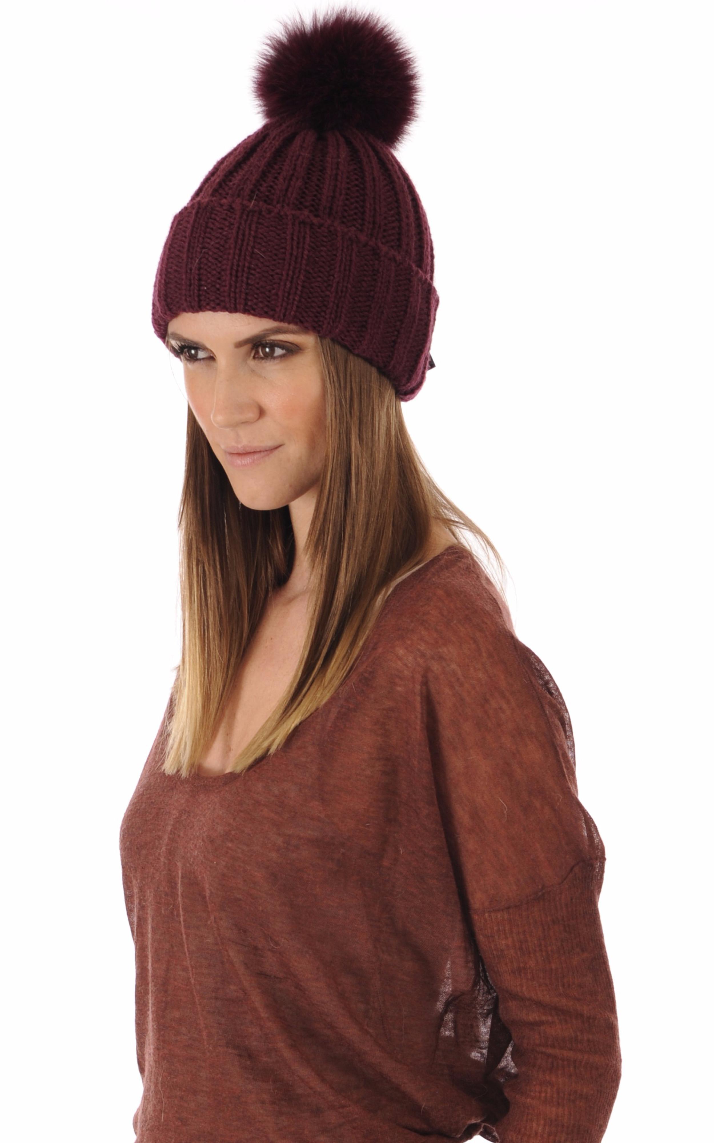 Bonnet laine et fourrure bordeaux Hpi