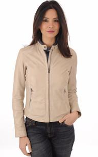 Manteau cuir beige femme