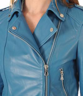 Blouson cuir femme bleu turquoise