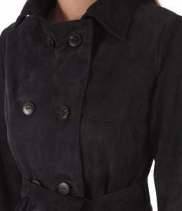 Trench Cuir Velours Marine Femme Peau d'Âne