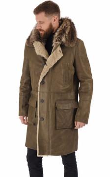 Manteau agneau et marmotte kaki