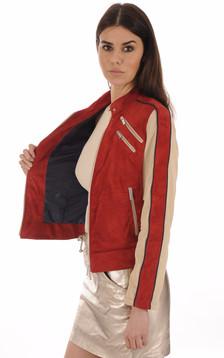 Blouson Cuir Velours Rouge 90's