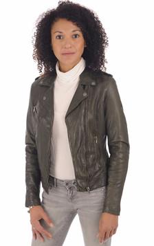"""Perf"""" cuir vert foncé femme1"""