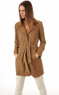 Trench Cuir Velours Taupe