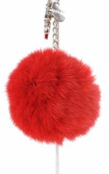 Porte Clef Fourrure Rouge1