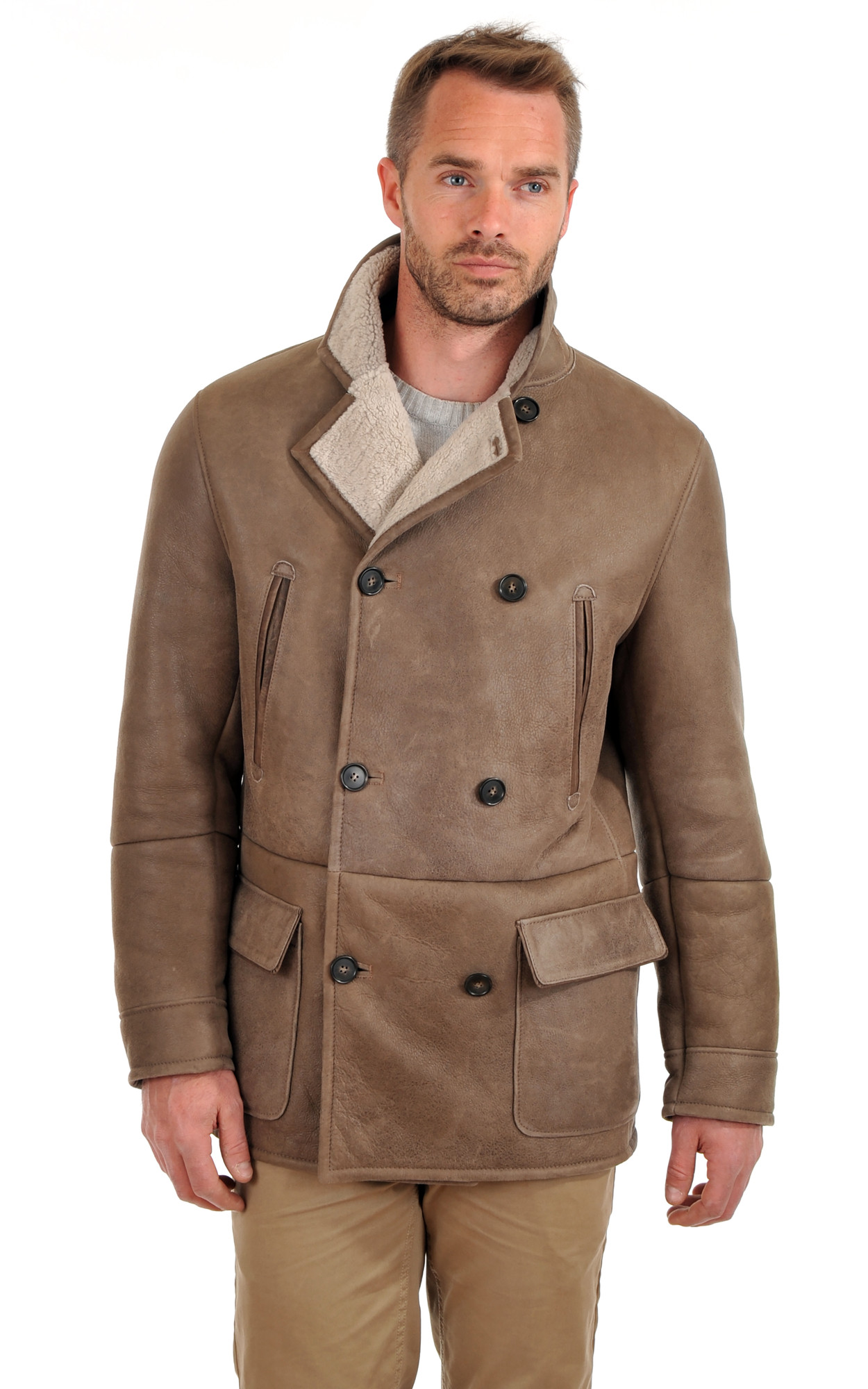 Manteau en peau retournee homme