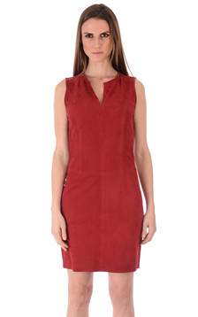 Robe Cuir Velours Rouge1