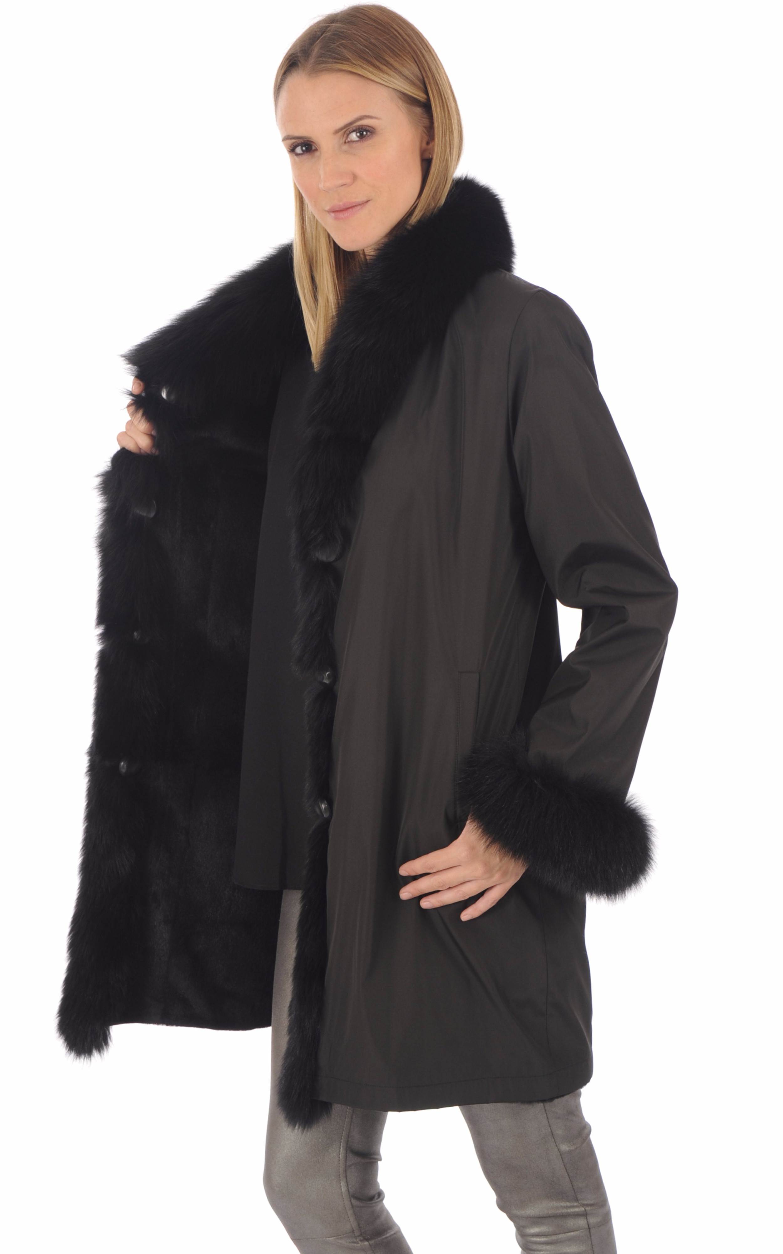 Pelisse réversible renard noir Nevepelle
