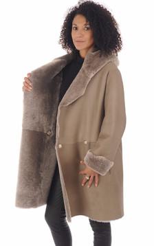 Manteau peau lainée Floride taupe