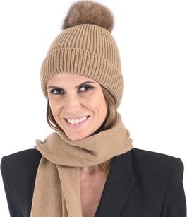 Bonnet cachemire et renard camel Lea Clement