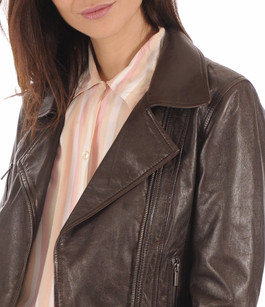 Blouson style Perfecto Juliette marron Rose Garden
