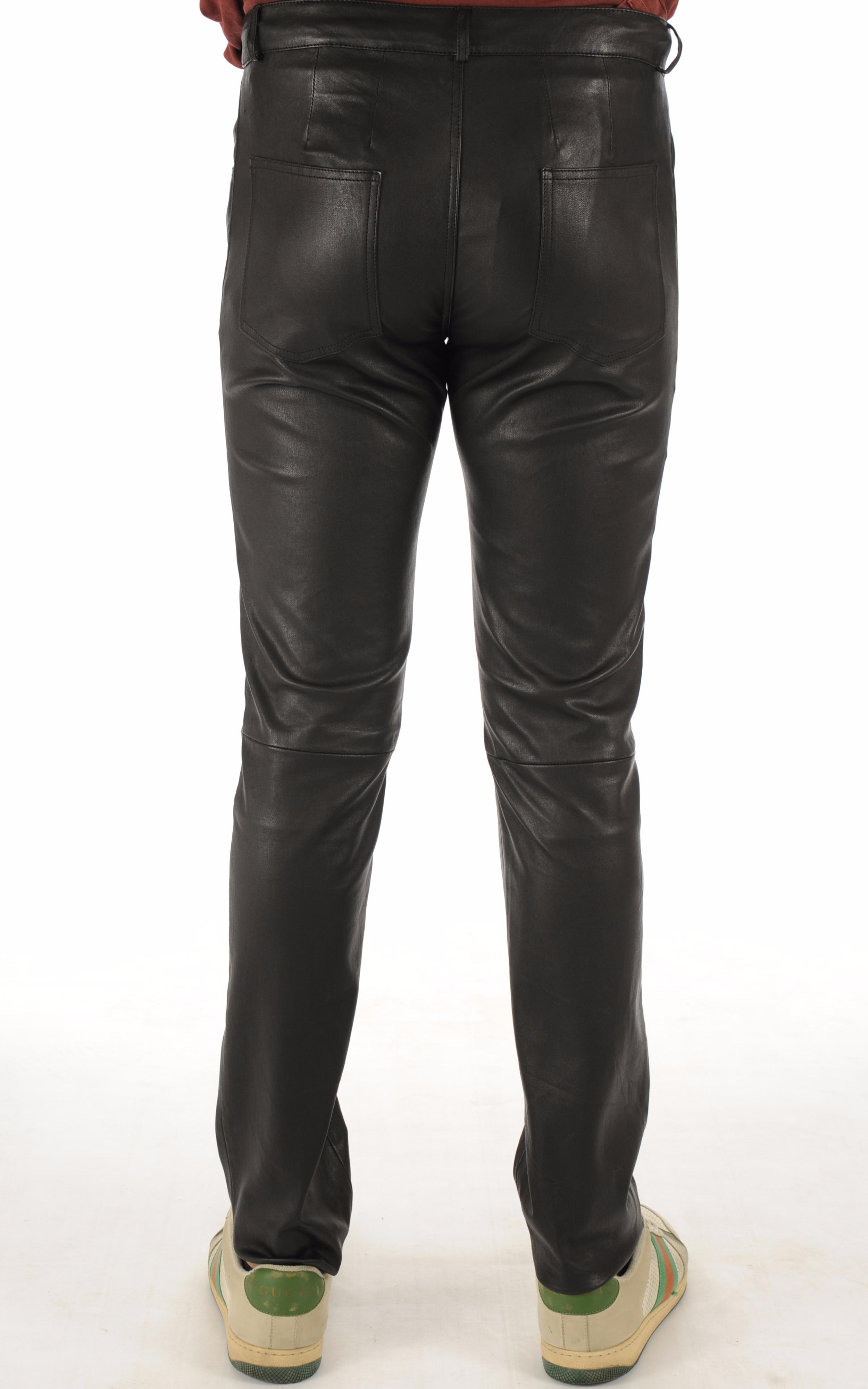 Pantalon Cuir Stretch Noir Homme La Canadienne