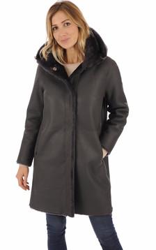 Manteau réversible peau lainée gris1