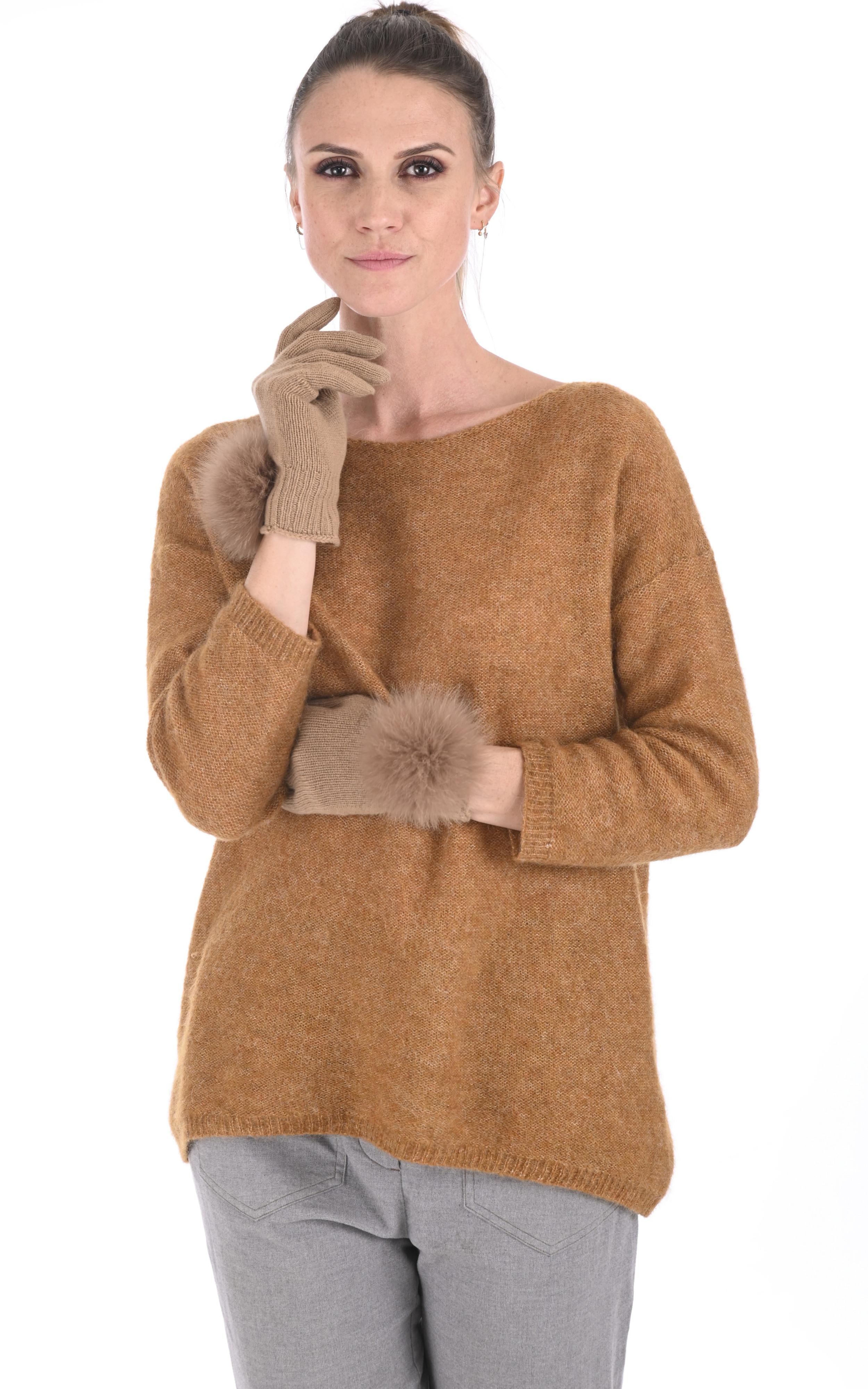 Gants cachemire et renard camel Lea Clement