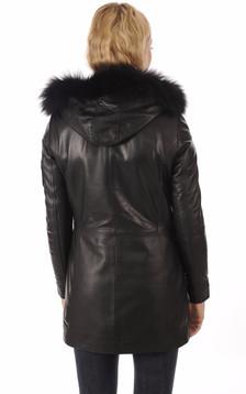 Veste cuir agneau noir