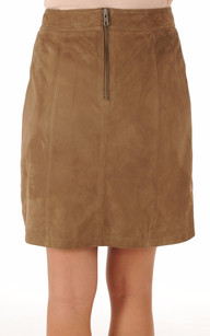 Jupe Cuir Aspect Velours Taupe