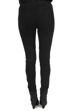 Pantalon Slim Cuir Stretch Velours