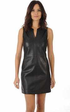 Robe Cuir Noir Coupe Droite1