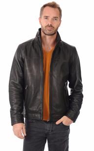Blouson Cuir Coupe Confortable Noir1