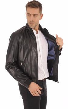 Blouson Cuir Noir Homme