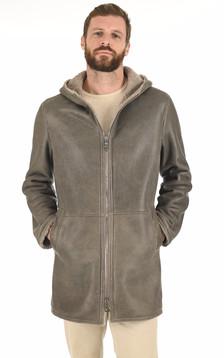 3/4 peau lainée capuche gris