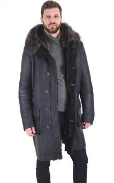 Manteau agneau et marmotte gris