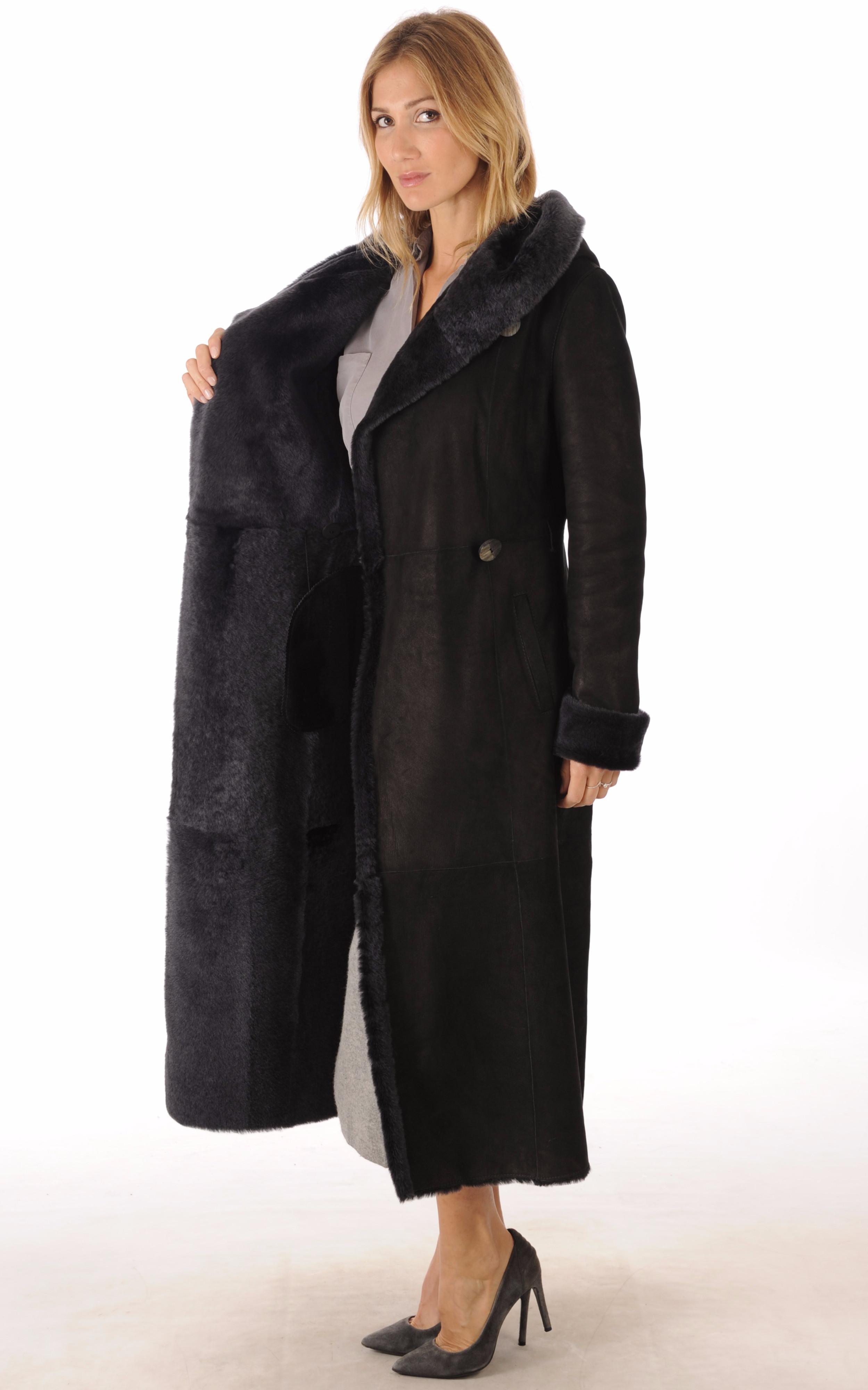 Manteau Peau Lainée Noir Bleuté La Canadienne