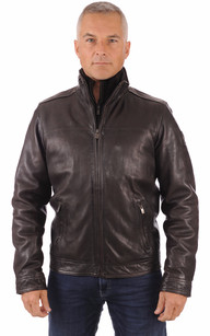 Blouson Cuir Coupe Confortable Marron