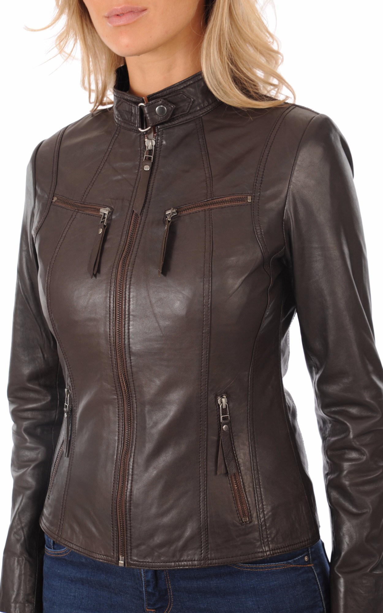 Blouson Cuir Marron La Canadienne