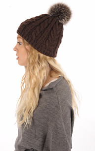 Bonnet Laine & Pompon Fourrure Marron1