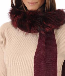 Echarpe Laine & Fourrure Bordeaux Miss Code