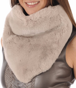 Large Snood Beige Fourrure Rex Soia & Kyo