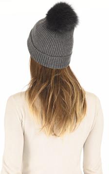 Bonnet en laine et cachemire anthracite