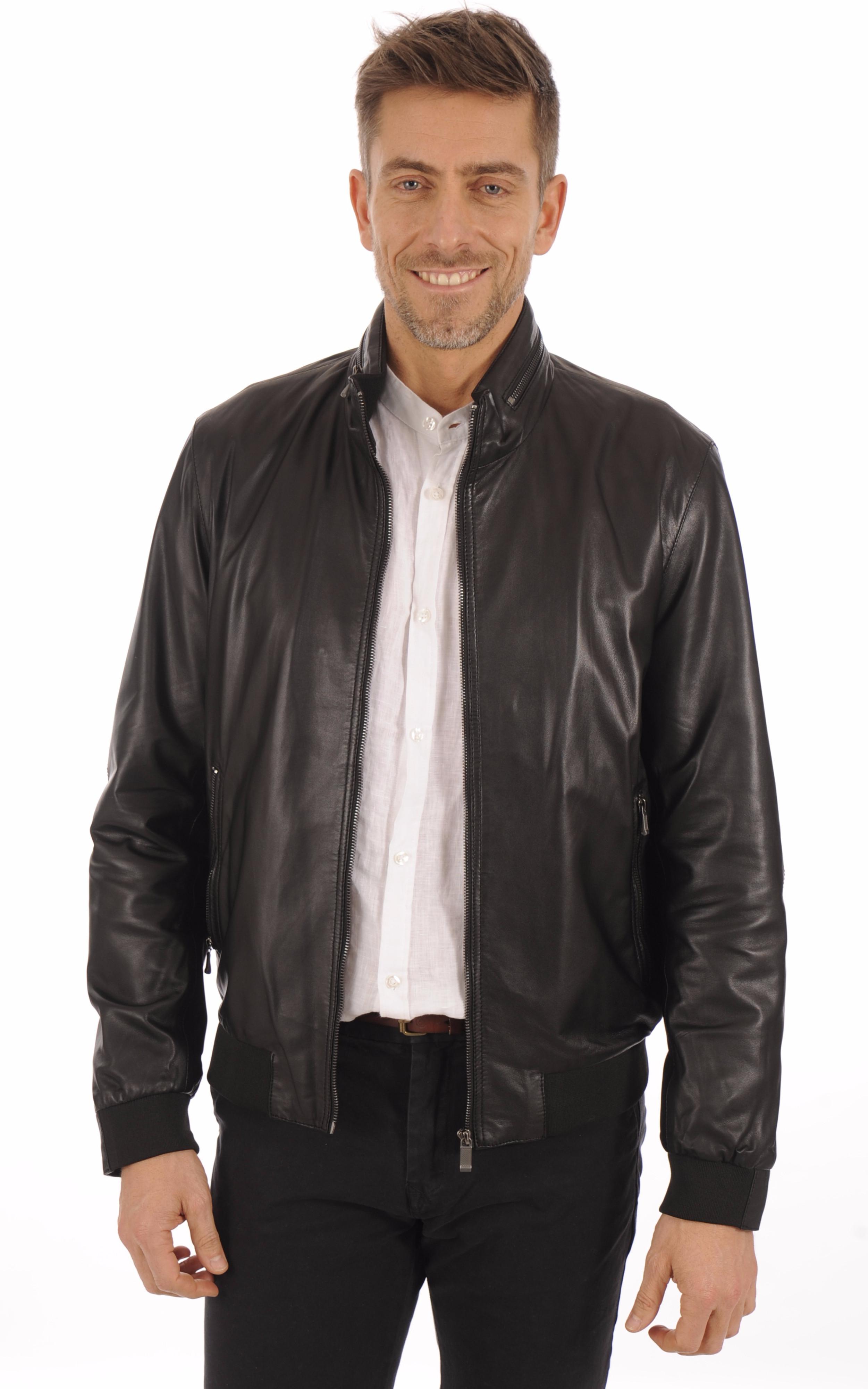 blouson cuir noir homme bugatti la canadienne blouson. Black Bedroom Furniture Sets. Home Design Ideas