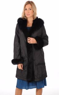 Pelisse Noire  Réversible Textile et Renard Femme1
