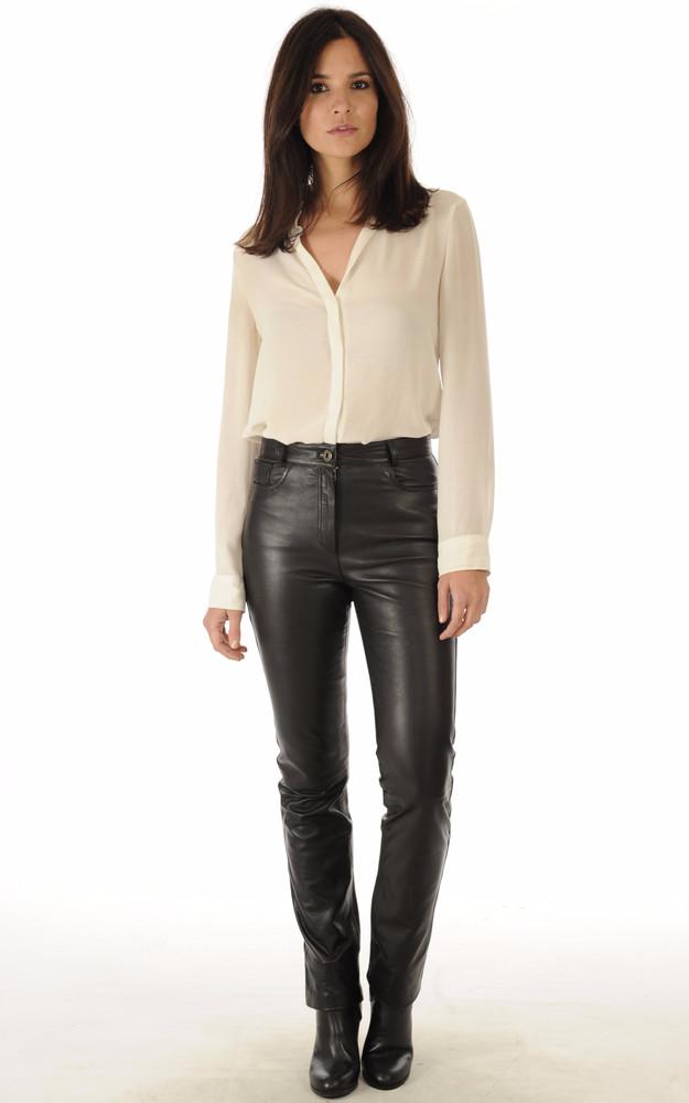 pantalon cuir noir coupe droite la canadienne la canadienne pantalon short cuir noir. Black Bedroom Furniture Sets. Home Design Ideas