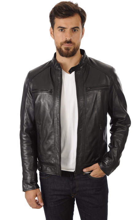 a4baa0afc345 Blousons cuir homme style motard - La Canadienne