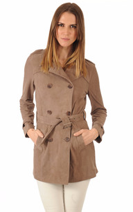 Trench Femme en Cuir Velours Taupe