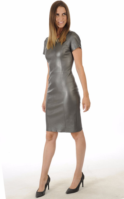 Robe Cuir Stretch Gris Métallisé La Canadienne