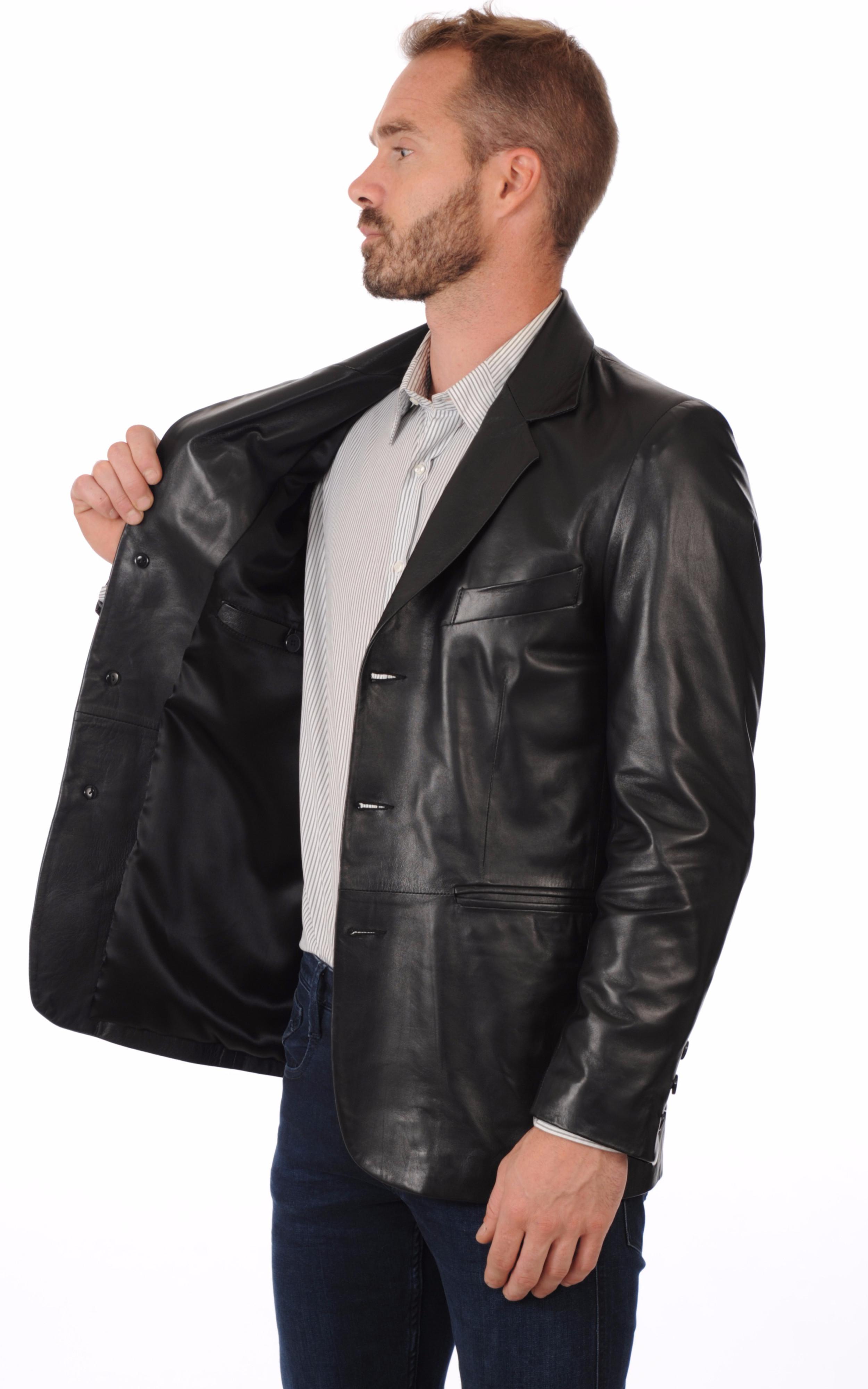 blazer cuir noir homme la canadienne la canadienne veste 3 4 cuir noir. Black Bedroom Furniture Sets. Home Design Ideas