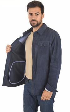 Chemise cuir velours bleu marine