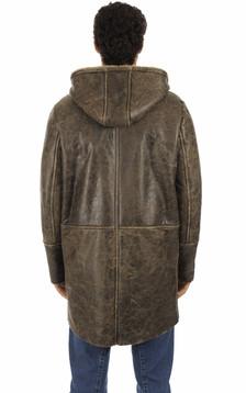 Manteau cuir veilli marron