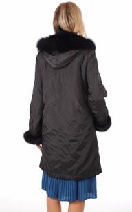 Pelisse Noire  Réversible Textile et Renard Femme
