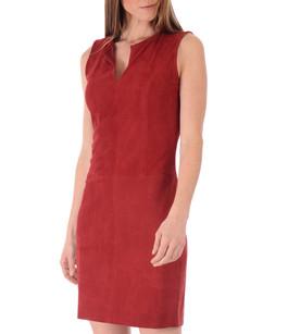 Robe cuir velours rouge La Canadienne