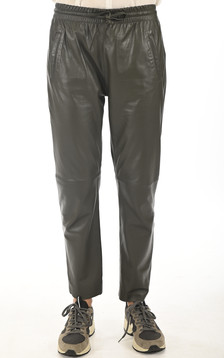 Pantalon jogpant cuir kaki foncé