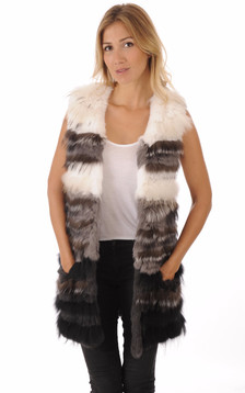 Gilet Long Fourrure Gris & Blanc
